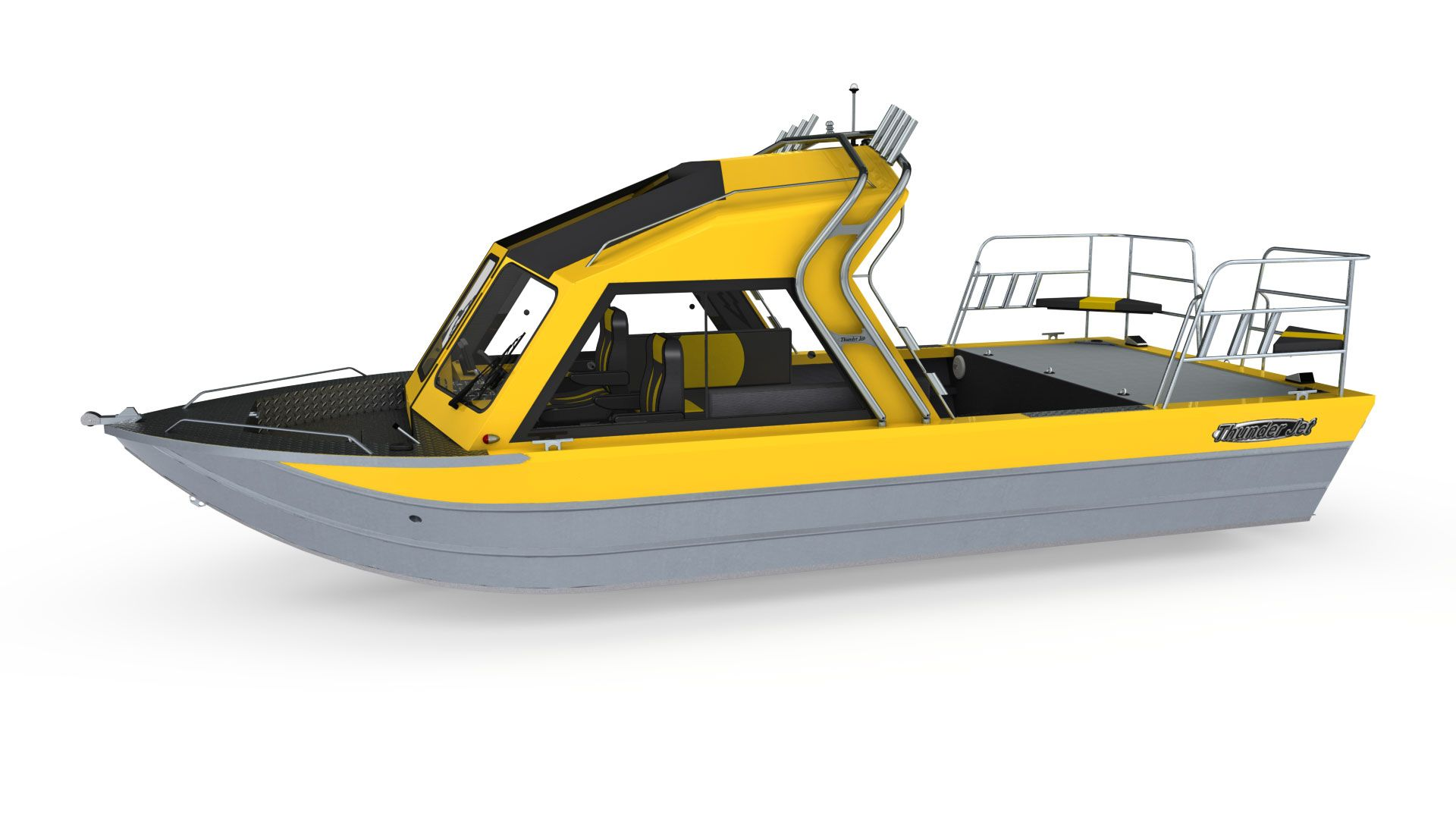 23 Foot Aluminum Jet Boat Thunder Jet Maxim Classic Med Billeder Bad