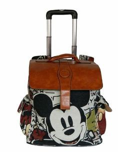 Disney Mickey Mouse Travel Handbag Luggage Bag Trolley Roller With Pu Leather
