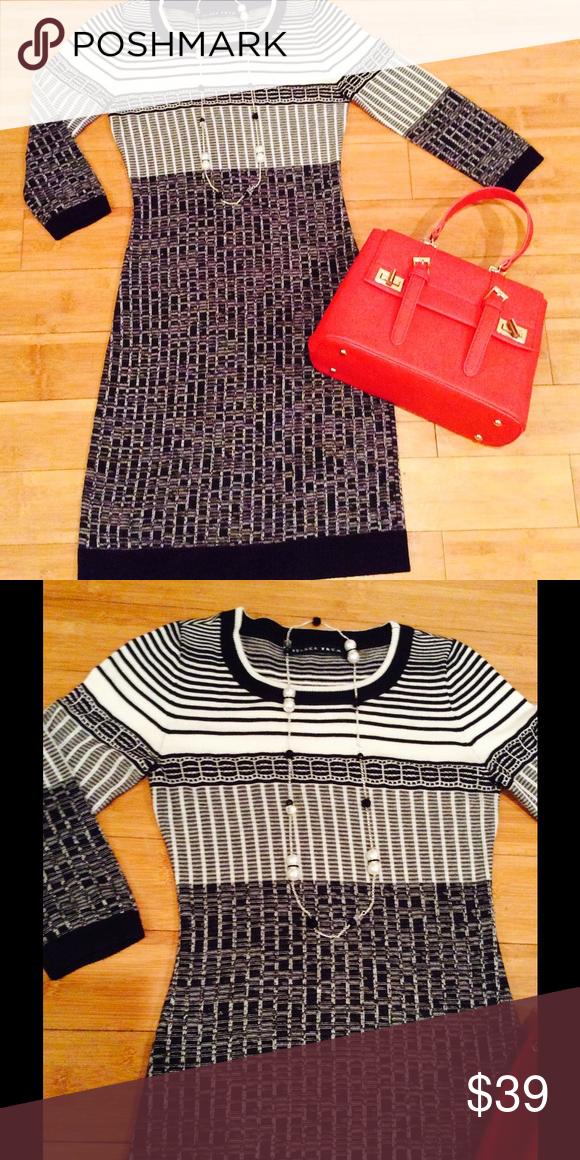 7adeee9783c7 Striped knit dress Body conscious striped knit dress in black