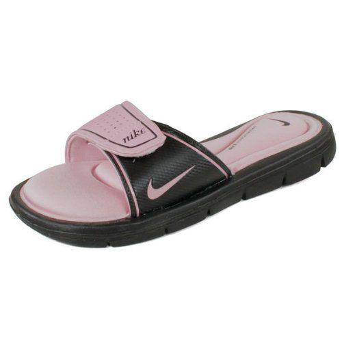 735052205447 Nike Women`s Comfort Slide Shoes Black Perfect Pink Nike