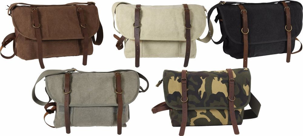 Vintage Military Canvas Messenger Shoulder Bag With Leather Accents  Rothco   MessengerShoulderBag d4b70a9366b