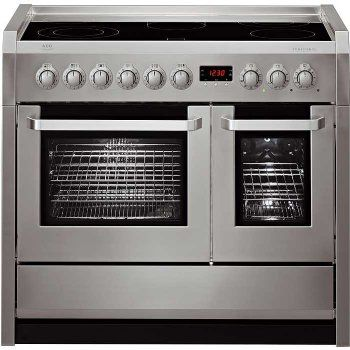 Aeg Competence C41022vm 100cm Electric Double Oven Range Cooker With Ceramic Hob Stainless Steel Double Oven Range Electric Double Oven Double Oven