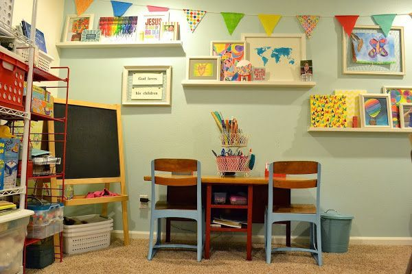 Thiswas originally a craft room/play room, but some vintage classroom furniture from Craigslist now lets the room pull triple-duty as a homeschool room. Description from learningliftoff.com. I searched for this on bing.com/images