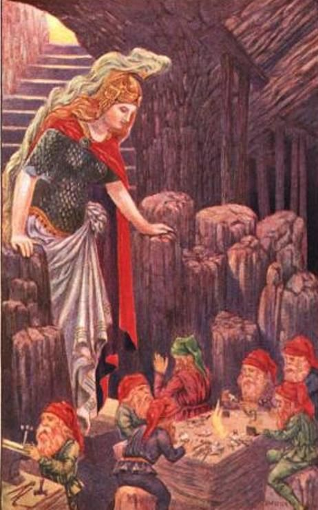 Freyja and the Dwarves 1908 Patten Wilson | Illustration, Norse, Mythology