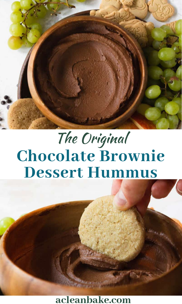 Chocolate Brownie Dessert Hummus #desserthummus Dessert hummus is all the rage these days! This chocolate brownie batter variety is one of the originals: a chocolate, chickpea-based dip that is a great party snack. My version offers a legume-free variation too, in case you don't tolerate chickpeas. This easy no bake creative dip is for everyone! #chocolaterecipes #glutenfreedessertrecipe #hummusrecipe #chocolatebrownierecipe #paleodessert #dairyfree #vegandessertrecipe #nutfreedessert #holiday #desserthummus