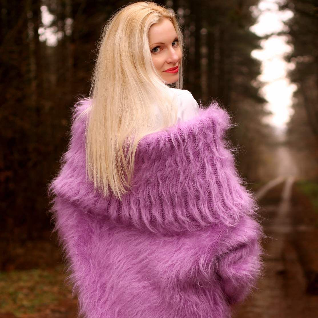 Hand knitted cowl neck mohair sweater in purple | Mohair sweater