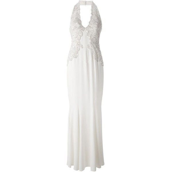 Zuhair Murad halterneck embellished gown (£3,355) ❤ liked on Polyvore featuring dresses, gowns, gown, white, silk gown, halter top, halter dress, white silk gown and white evening gowns