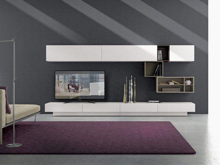 Mueble modular de pared composable montaje pared de madera for Presotto industrie mobili spa