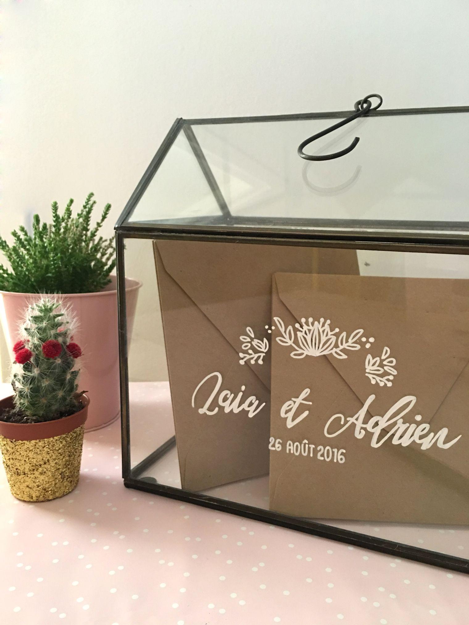 urne avec une serre en verre criture personnalis e mariage campagne champ tre pinterest. Black Bedroom Furniture Sets. Home Design Ideas