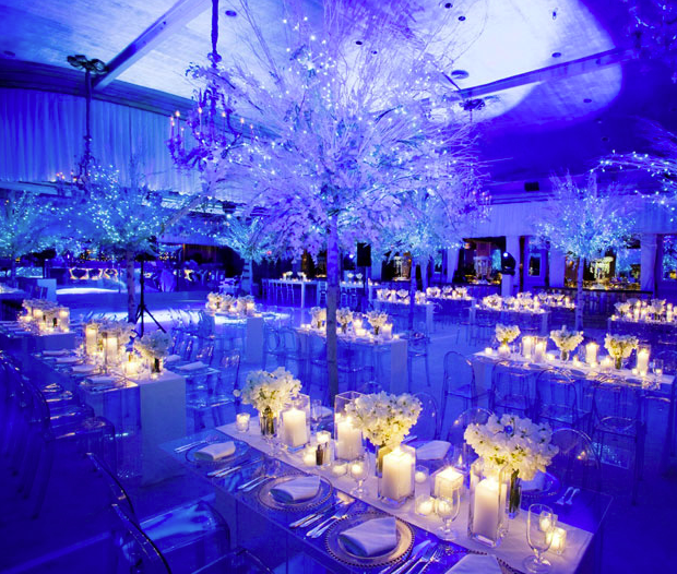 Diy Led Uplighting Rental Atlanta: Amazing Setup At This #blue #uplighting #wedding
