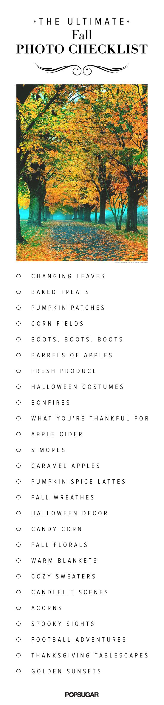 A Fall photo checklist to keep handy when apple picking, foliage viewing, pumpkin spice drinking!