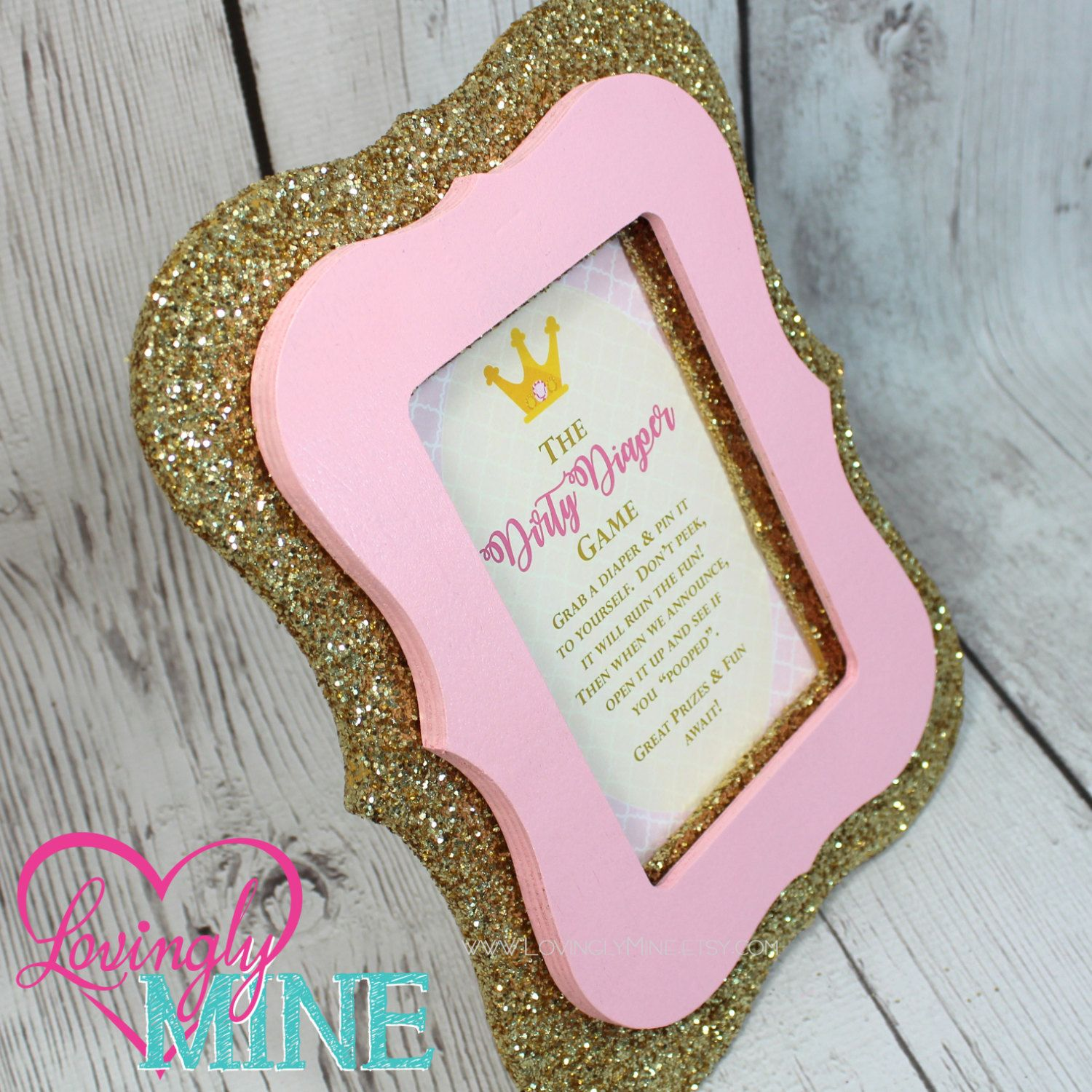 4 x 6 Glitter Gold, Baby Pink Frame Princess - Dirty Diaper Game or ...
