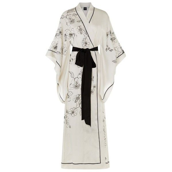 Carine Gilson Long Silk Kimono Robe (4.880 BRL) ❤ liked on Polyvore ...