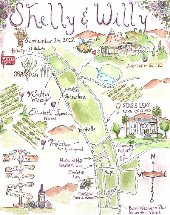 Custom Wedding Map Hand Drawn Original Artwork JLH By JLHArtStudio 12500