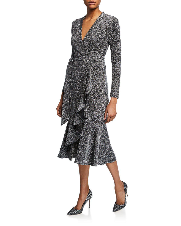 c0cbfdd55 Elliatt Lush Metallic Long-Sleeve Wrap Midi Dress in 2019 | Dresses ...