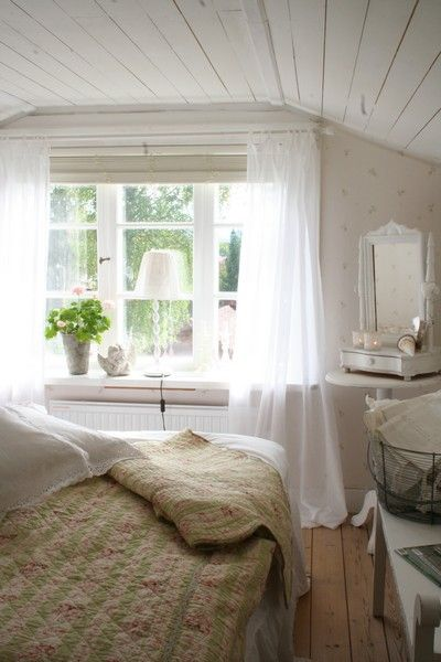 Modern Country- Sheer curtains and window seat