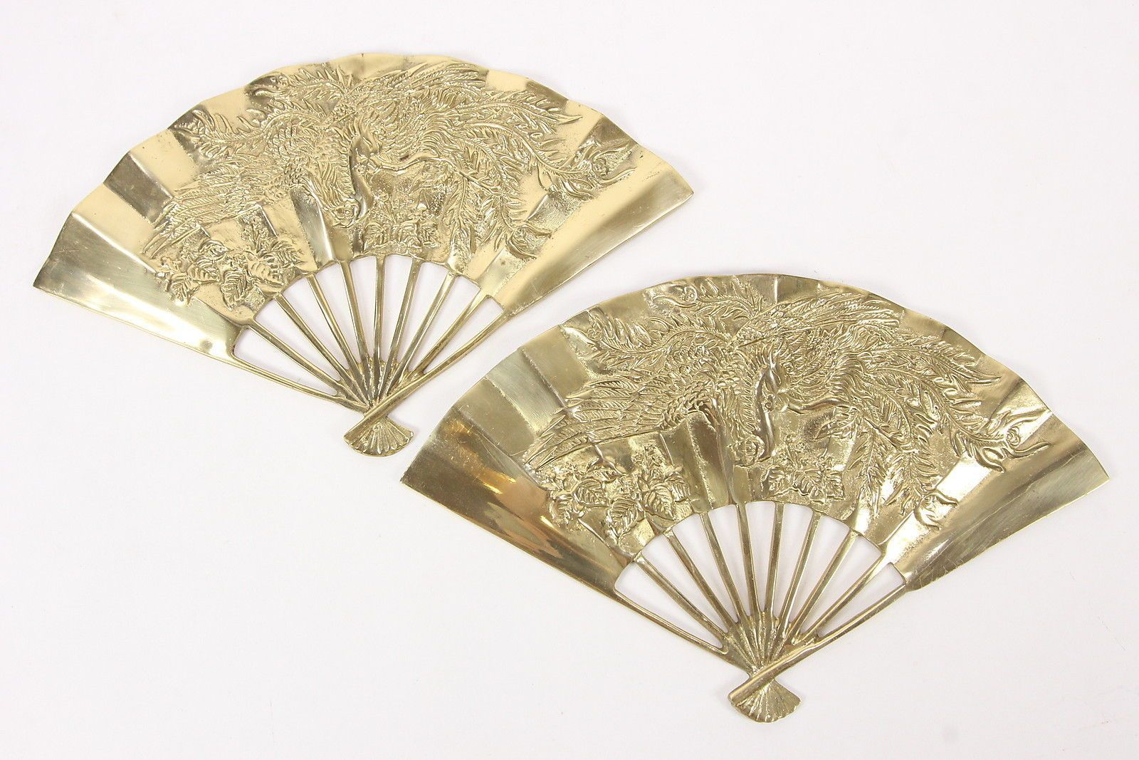 Pair Of Solid Brass Hand Fans Wall Decor Embossed Dragons & Folds 11 ...