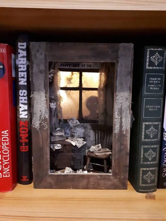 Miniature Book Nook Room * creepy diarama * shadow box * doll house room * shelf insert * Book Nook * miniature * lit * Don't let it in!
