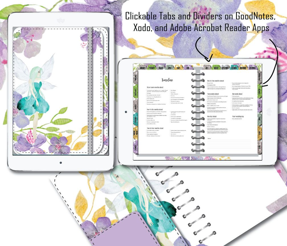 Digital Wedding Planner for PDF annotator apps. Fairy Lavender mint  calendar, event, budget