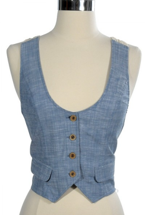 Blue Without You Denim and Crochet Vest... only large's left :( $23