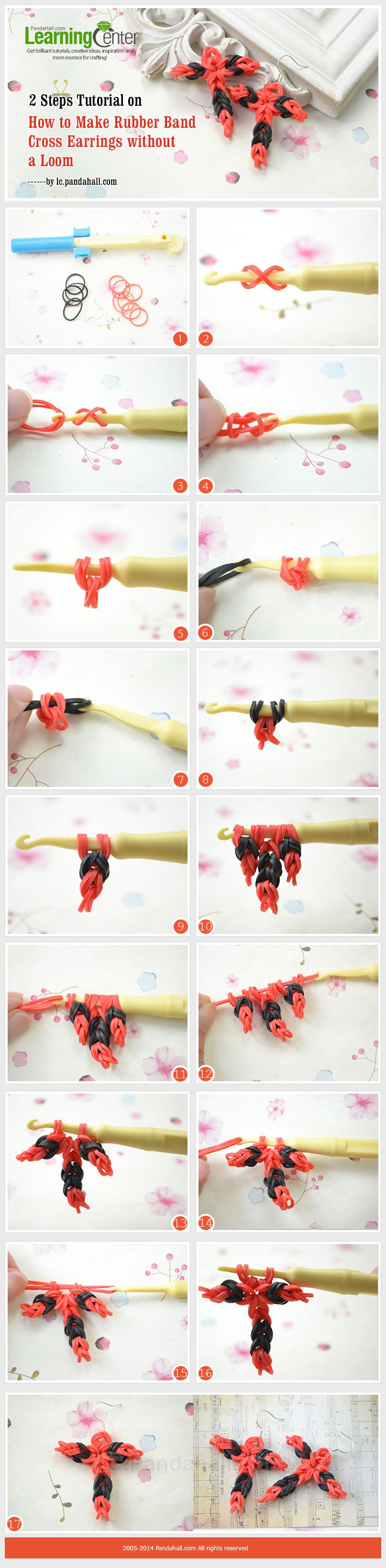 2 Steps Tutorial On How To Make Rubber Band Cross Earrings Without A
