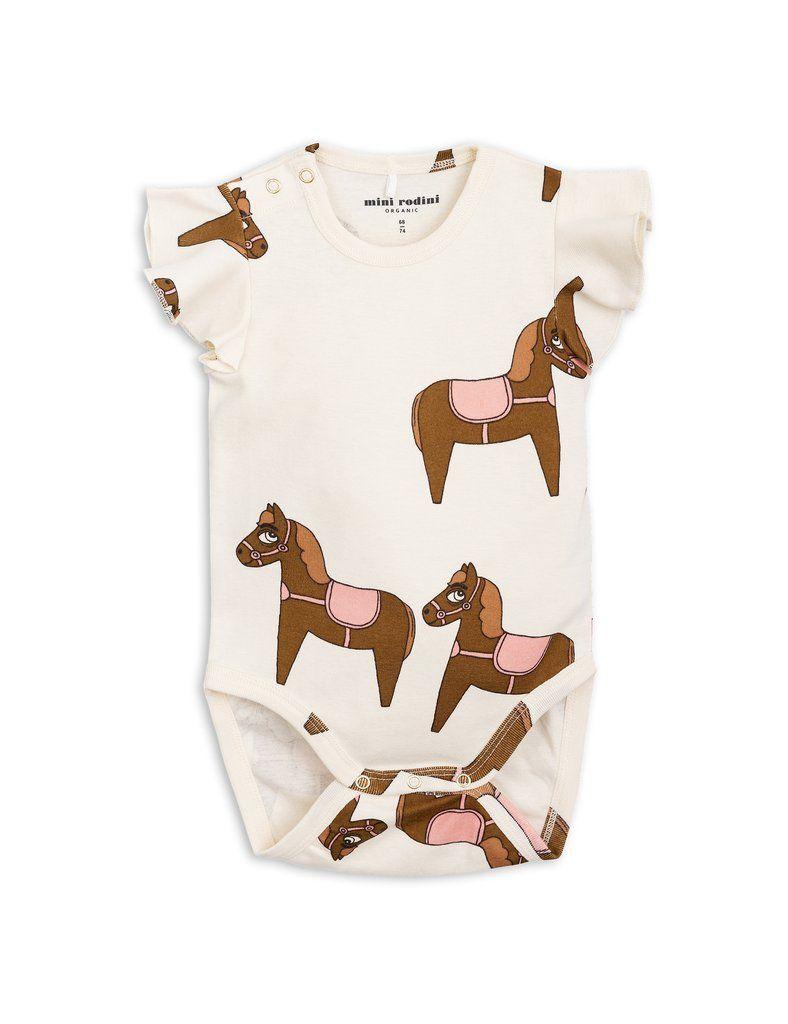 Mini Rodini Horse Pink Organic Wing Bodysuit   Baby ...