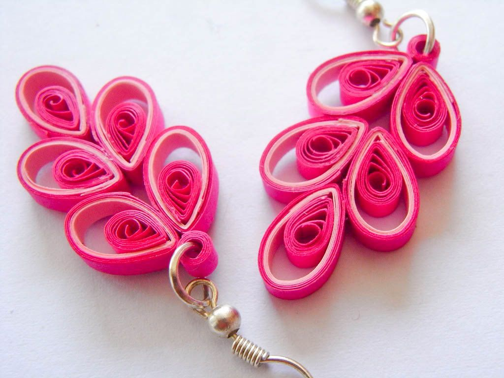 Ooak chinese button paper quilled earrings via for Art sites like etsy