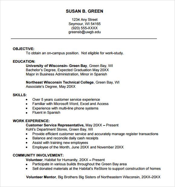 Resume Templates College (6 di 2020