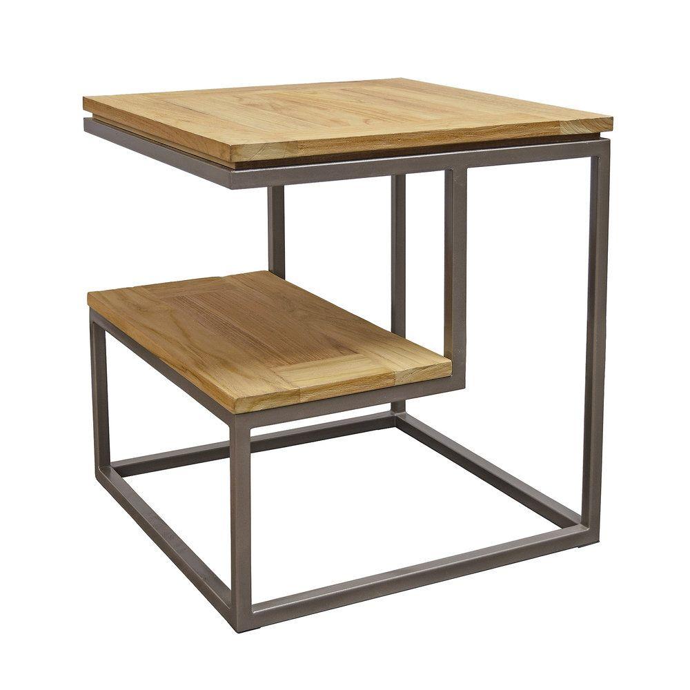 Asta Simplicity Teak Iron 2 Tier Side Table Side Table Iron