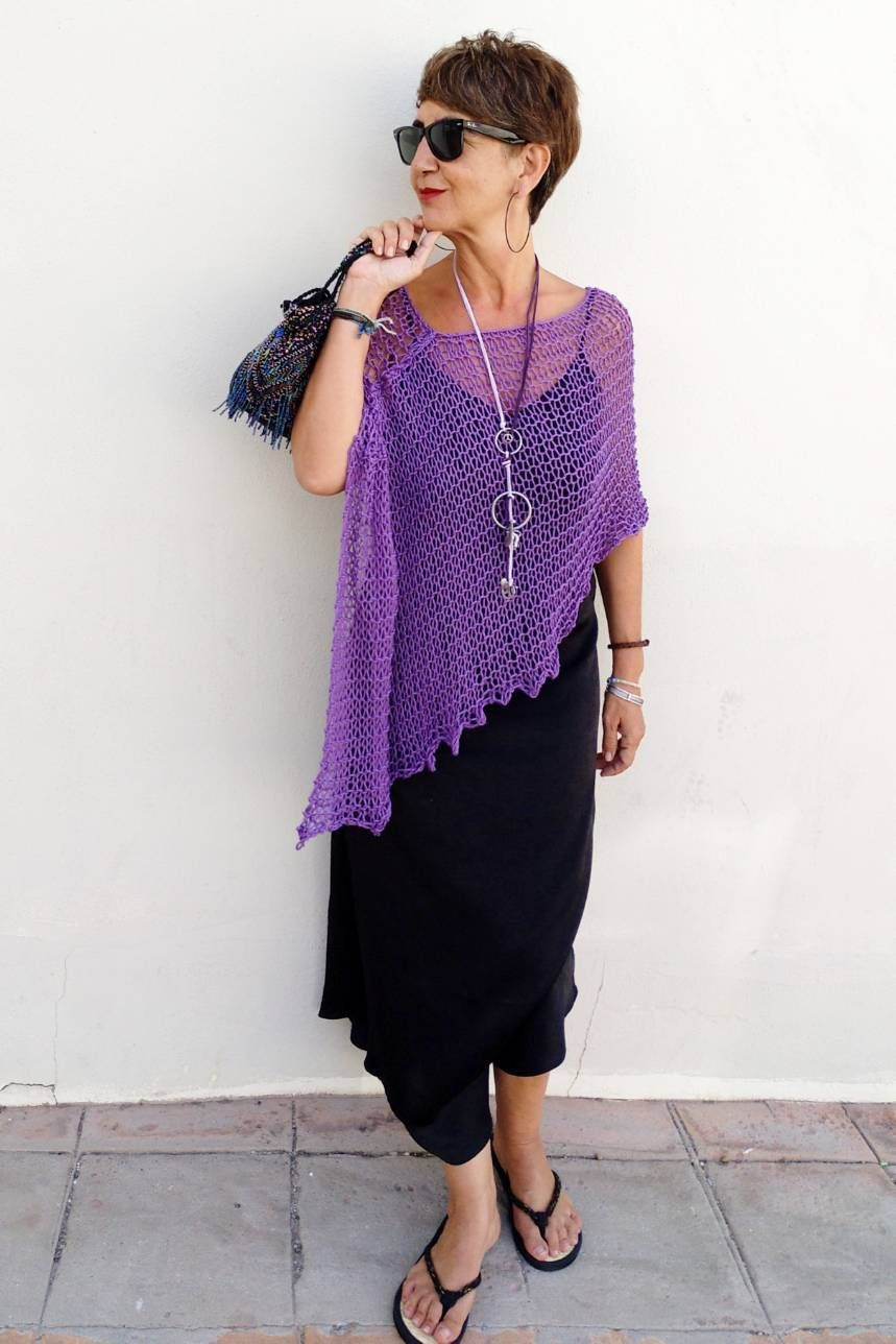 Summer Cotton Poncho Purple Cotton Poncho Violet Knit Shawl Party Dress Cover Valentine S Gift Lilac Knit Wrap Shrugs For Dresses In 2020 Shrug For Dresses Dress Cover Party Dress [ 1288 x 859 Pixel ]