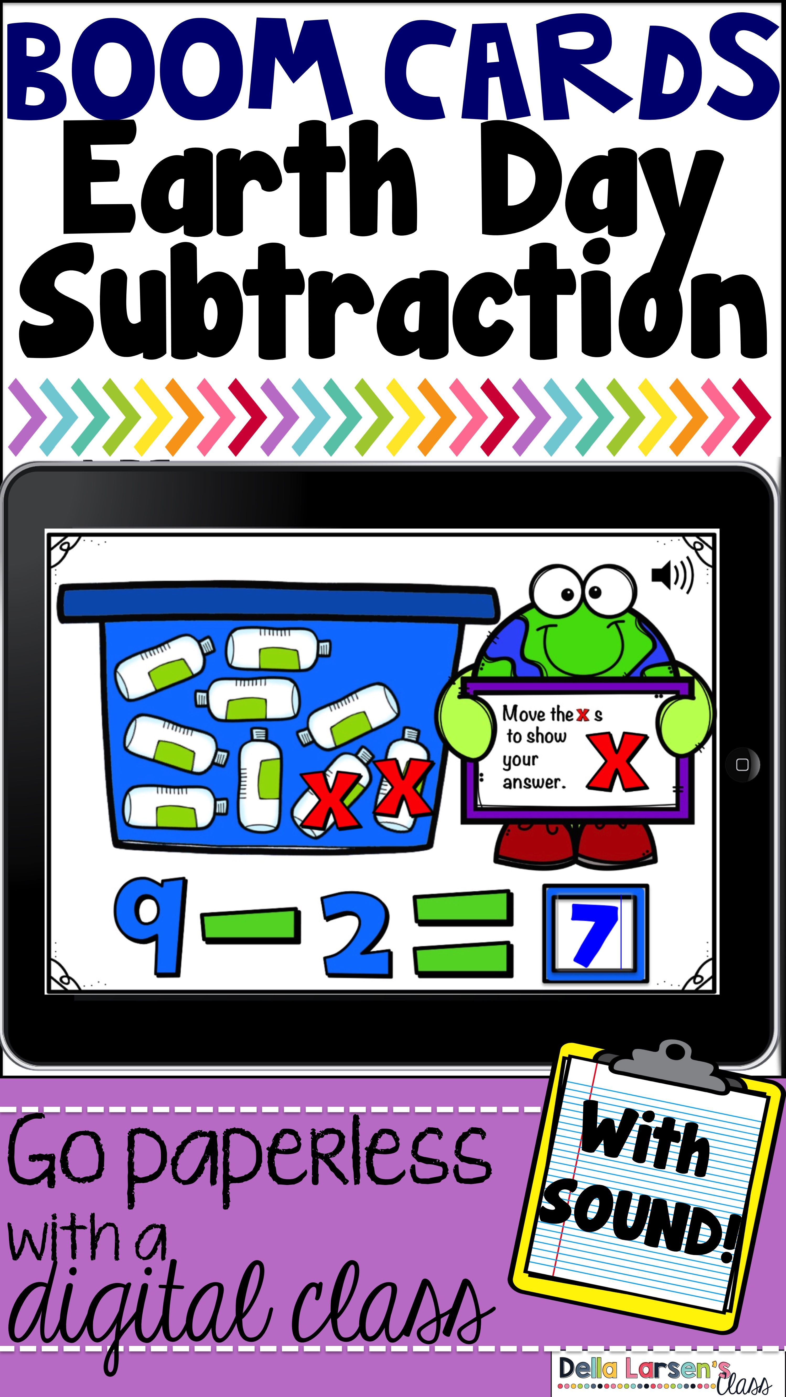 Boom Cards Earth Day Subtraction Distancelearningtpt