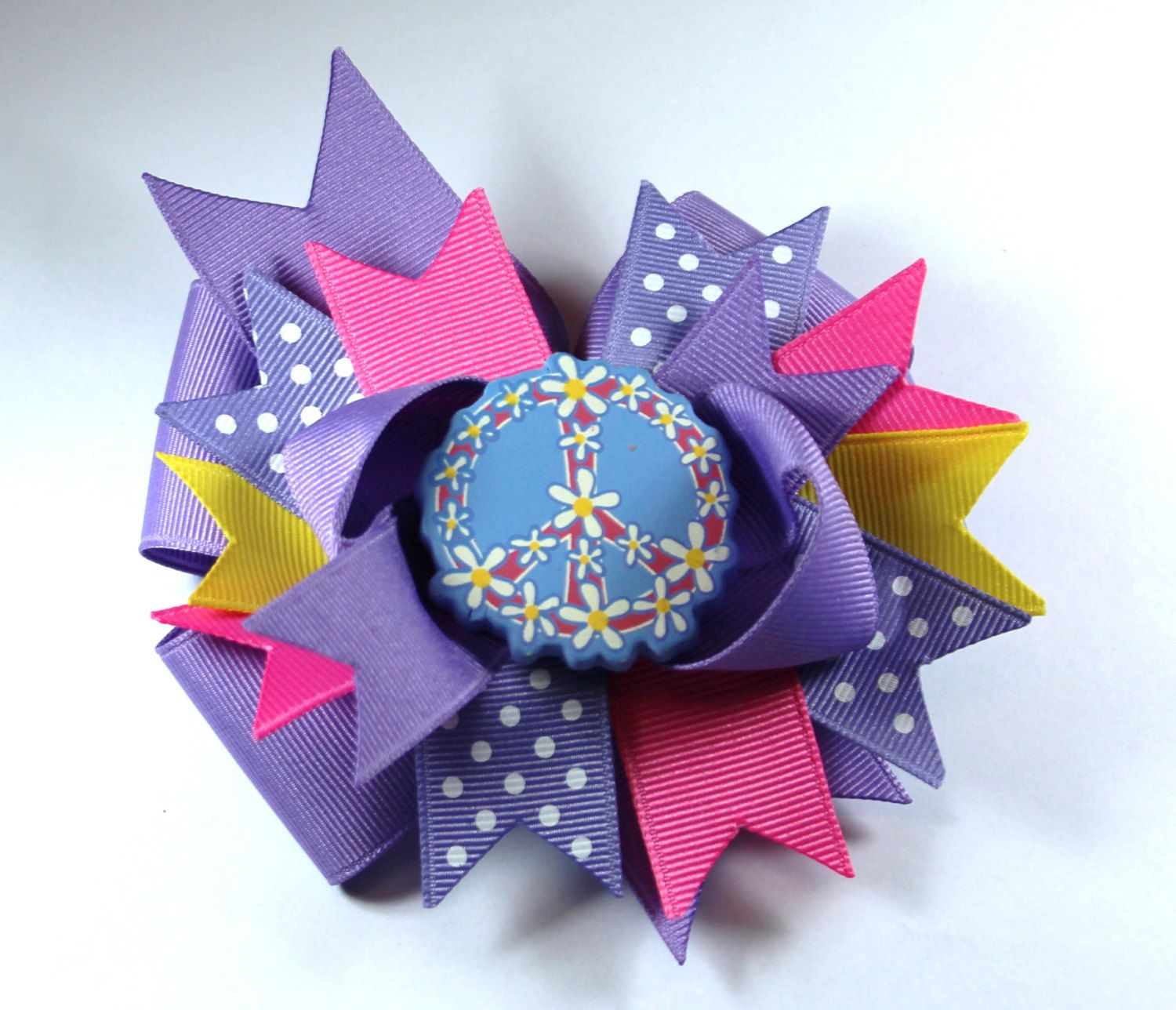 Boutique Pink Purple Peace Sign  Hair Bow Clip by prettybowtique on Etsy