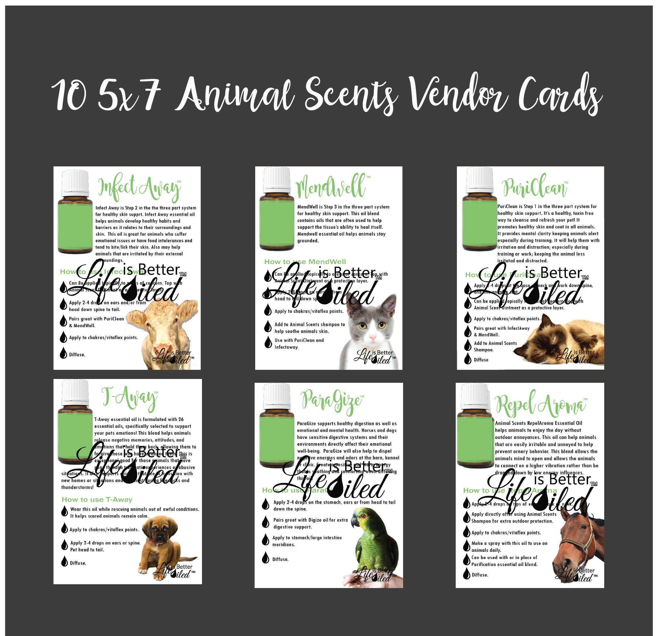 Sale Animal Scents Vendor Cards For Young Living Business