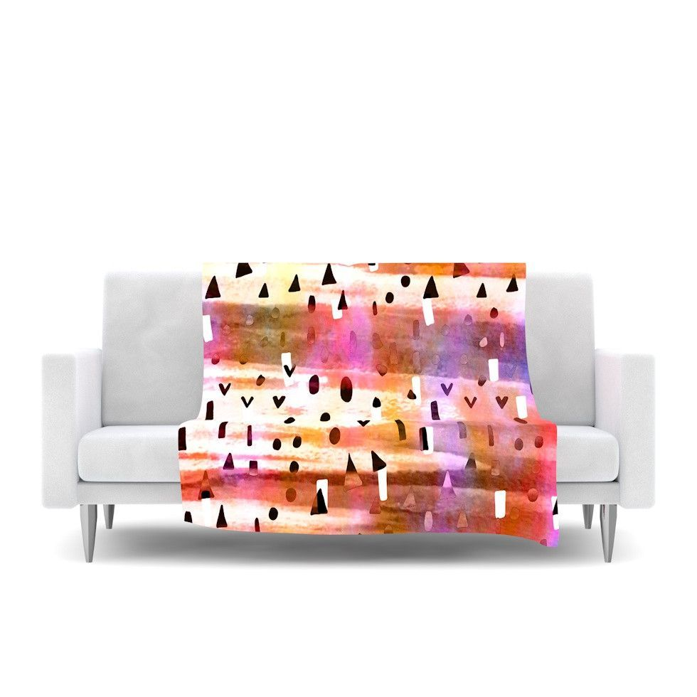 "Ebi Emporium ""Geo Party - Pink"" Multicolor Painting Fleece Throw Blanket from KESS InHouse, @kessinhouse #EbiEmporium #pretty #chic #girly #pink #pastel #geometric #polkadots #colorful #art #fineart #blanket #abstract #watercolor #painting #hipster #modern #trendy #teen #fleece #throwblanket #design #decor #homedecor"