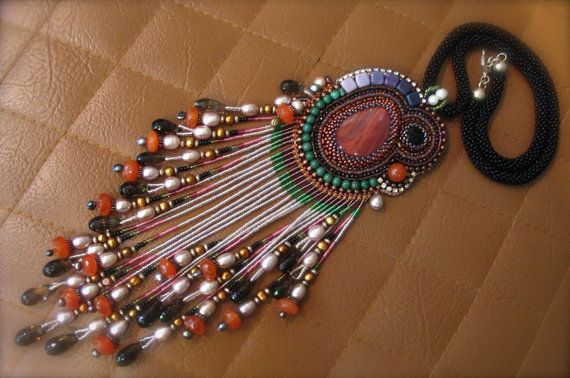 Indian red  Embroidery pendant  Tribal Necklace