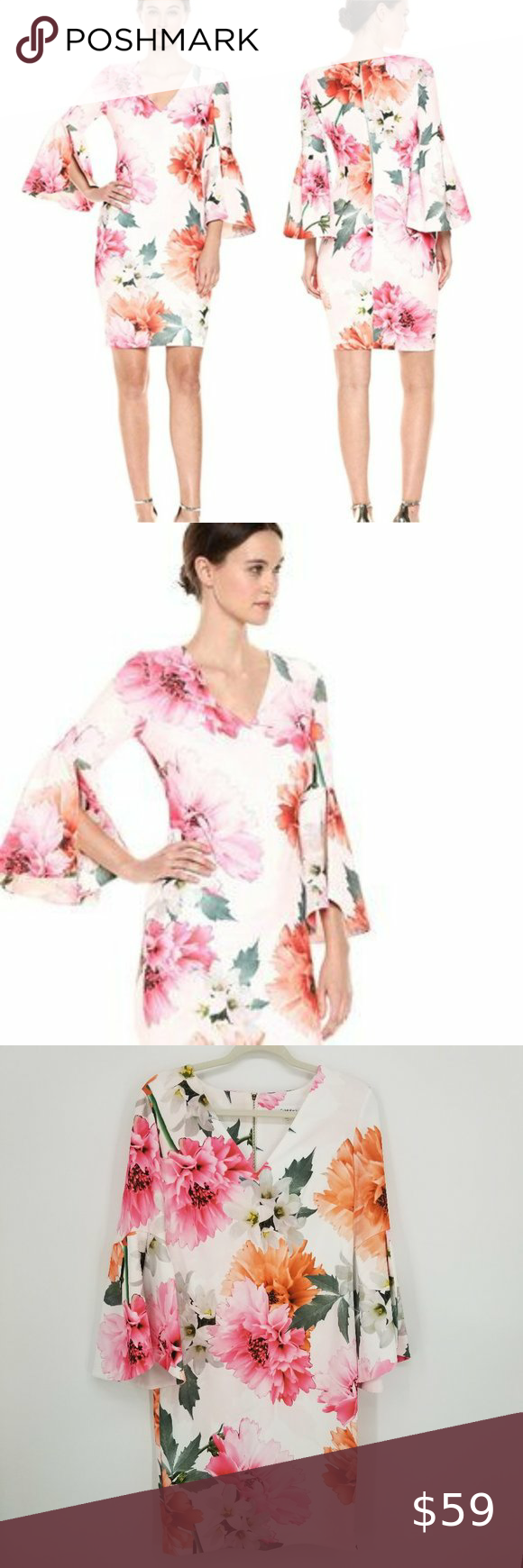 45++ Calvin klein bell sleeve dress floral trends