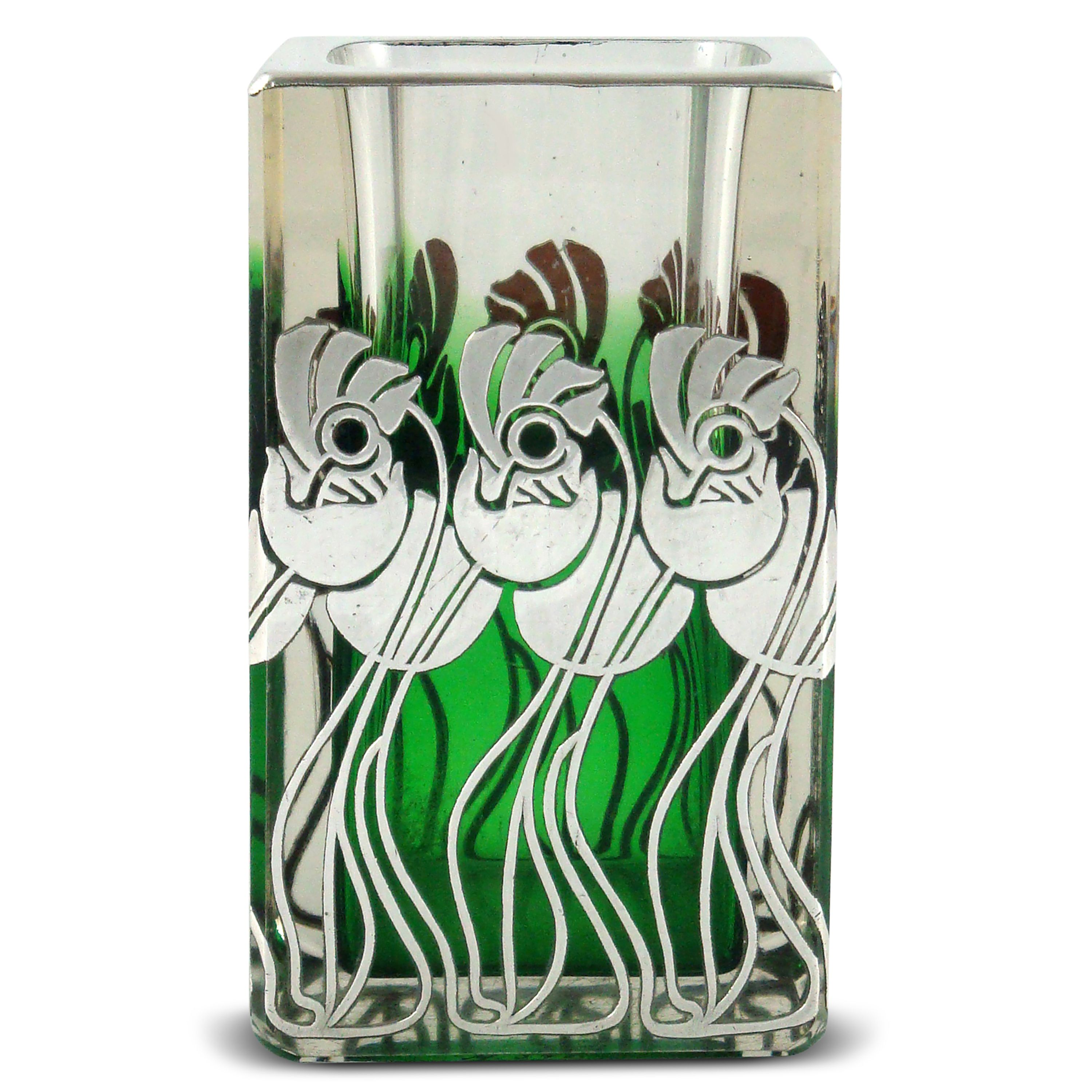 Art nouveau glass vase shading from green to clear with silver art nouveau glass vase shading from green to clear with silver overlay in the style of reviewsmspy