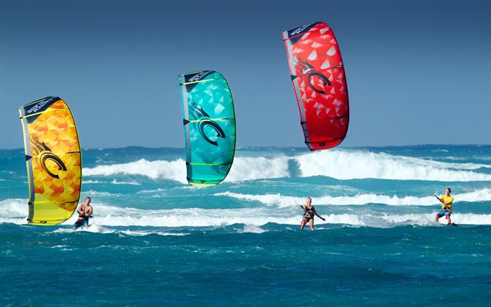 Download wallpapers Kitesurfing, extreme sports, sea, summer, beach sports,  Kite parachute besthqwallpapers.com | Kite surfing, Beach sports, Extreme  sports