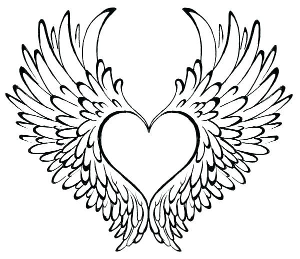 Coloring Pages Of Heart Rose Valentine Hearts Coloring Pages Printable Heart With Wings Tattoo Wings Tattoo Wing Tattoo Designs