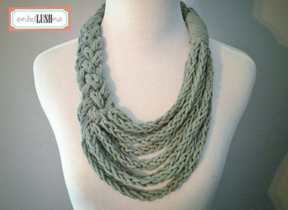 Grey Braided Asymmetrical Necklace with Finger Knit Cotton Strands ...