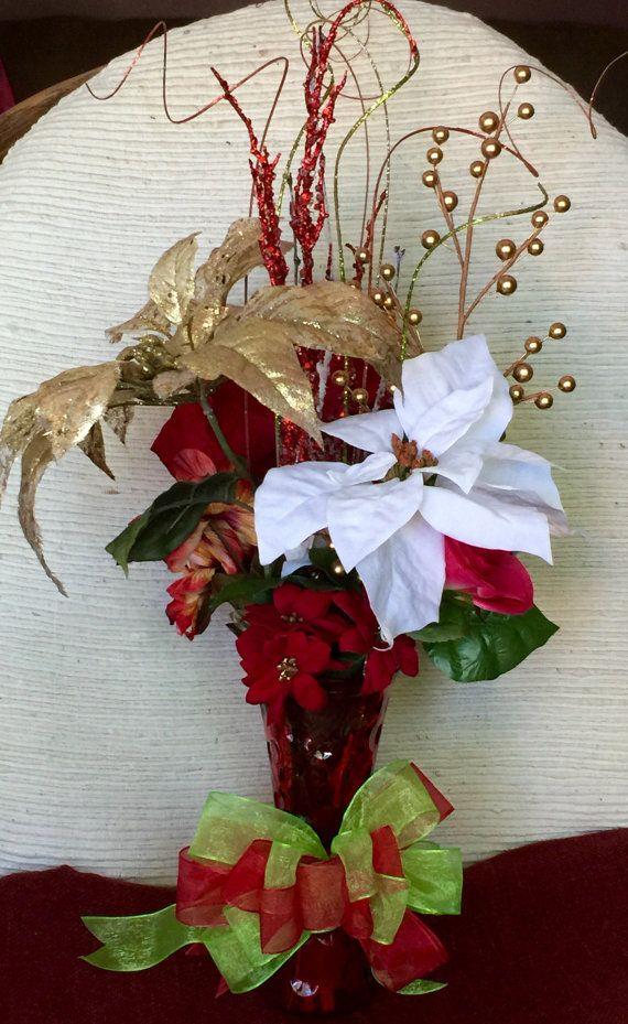 Tiempo De Navidad Está Cerca Arreglo Floral De Navidad