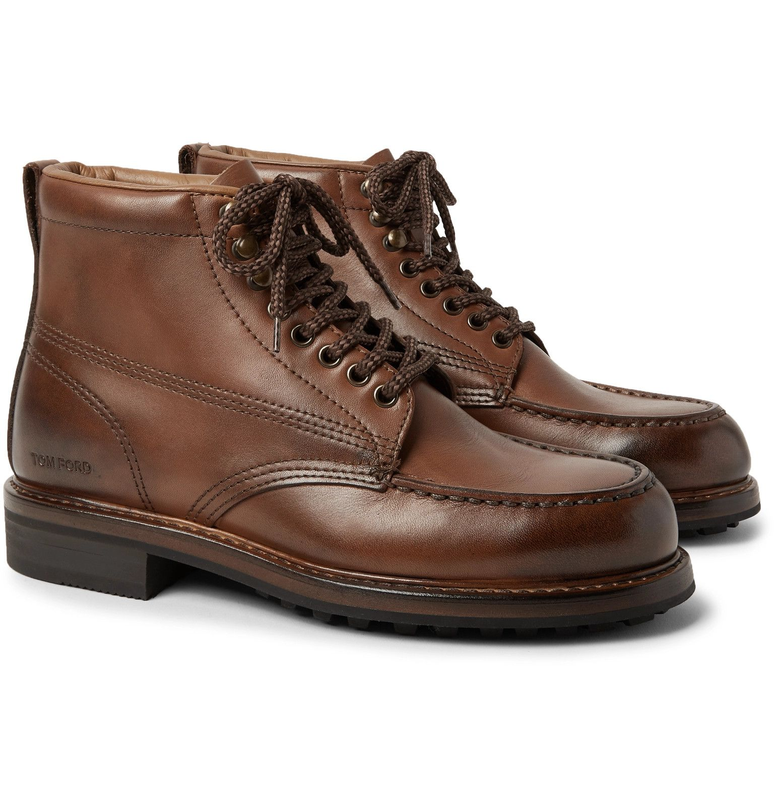 d7b48545c27 TOM FORD - Cromwell Burnished-Leather Hiking Boots | MEN | Leather ...