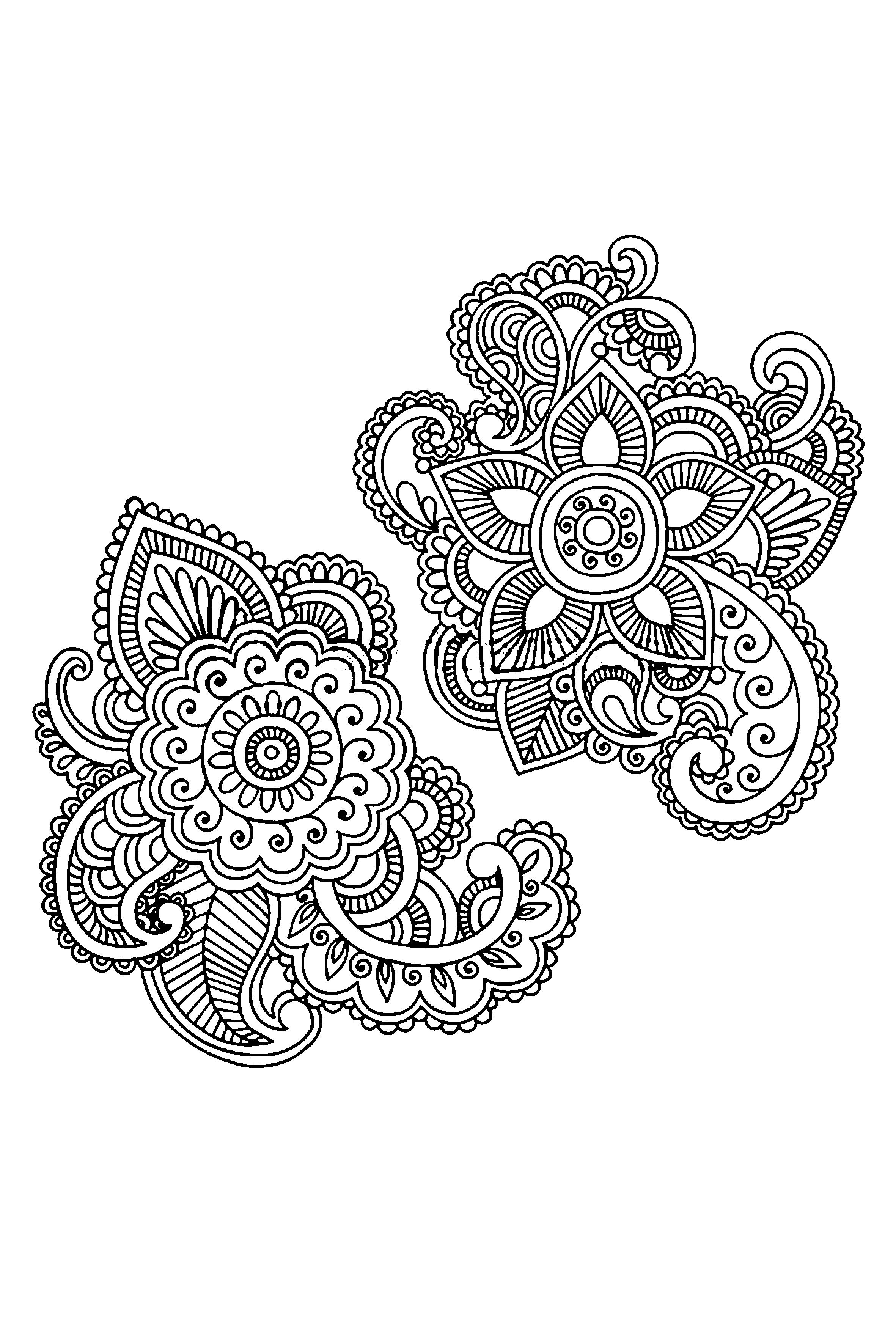 henna flowers hand drawn abstract henna mehndi paisley doodle vector illustration. Black Bedroom Furniture Sets. Home Design Ideas