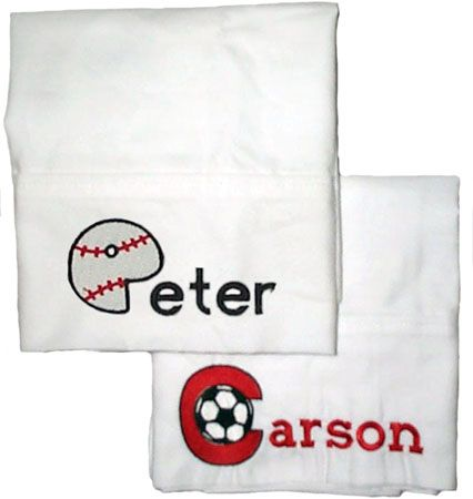 Sports pillowcase embroidered by Initial Impressions