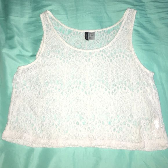 White lace crop top Brand new, never worn. (Was a gift, but they didn't know me too well) lol H&M Tops Crop Tops