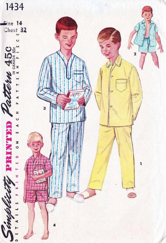 cea54bd1ae7 1950s Boys Pajamas Pyjamas | Vintage Sewing Patterns in 2019 | Boys ...