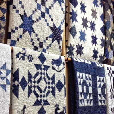 Antique Indigo blue and white quilts, yum!