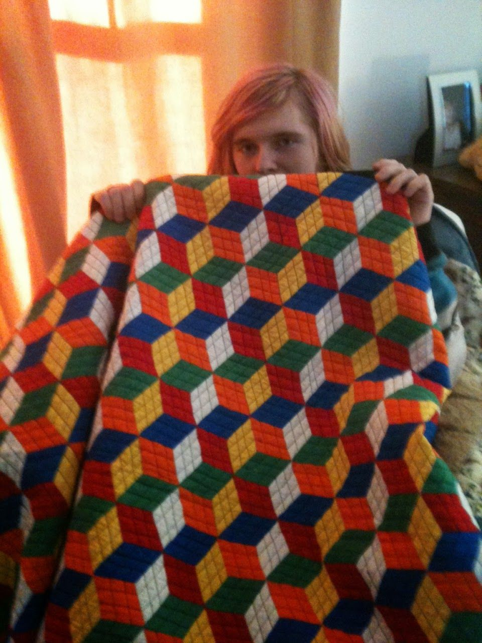 Rubik's Cube Quilt made with Quiltsmart Tumbling Blocks Pattern