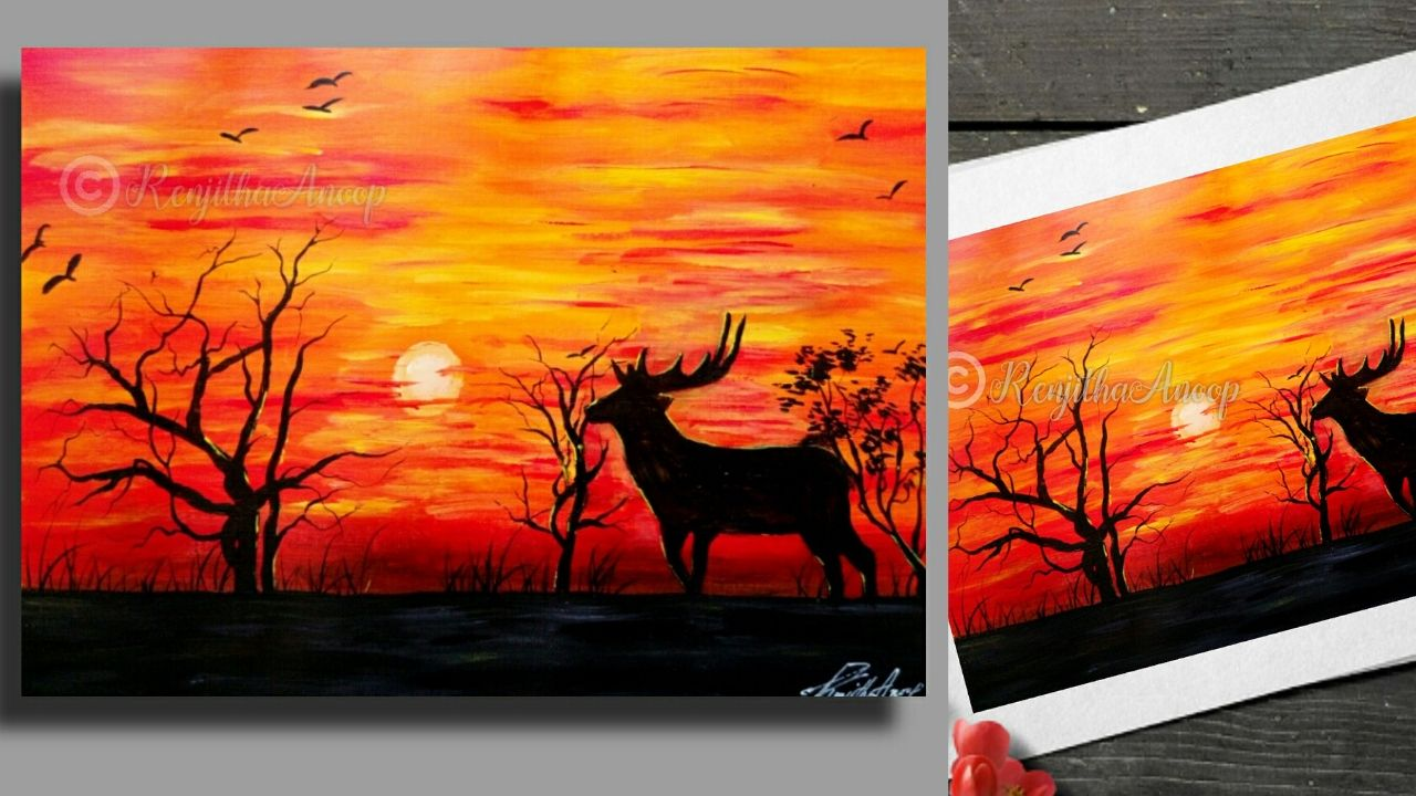 Sunset Painting Sunset Painting Painting Step By Step Painting