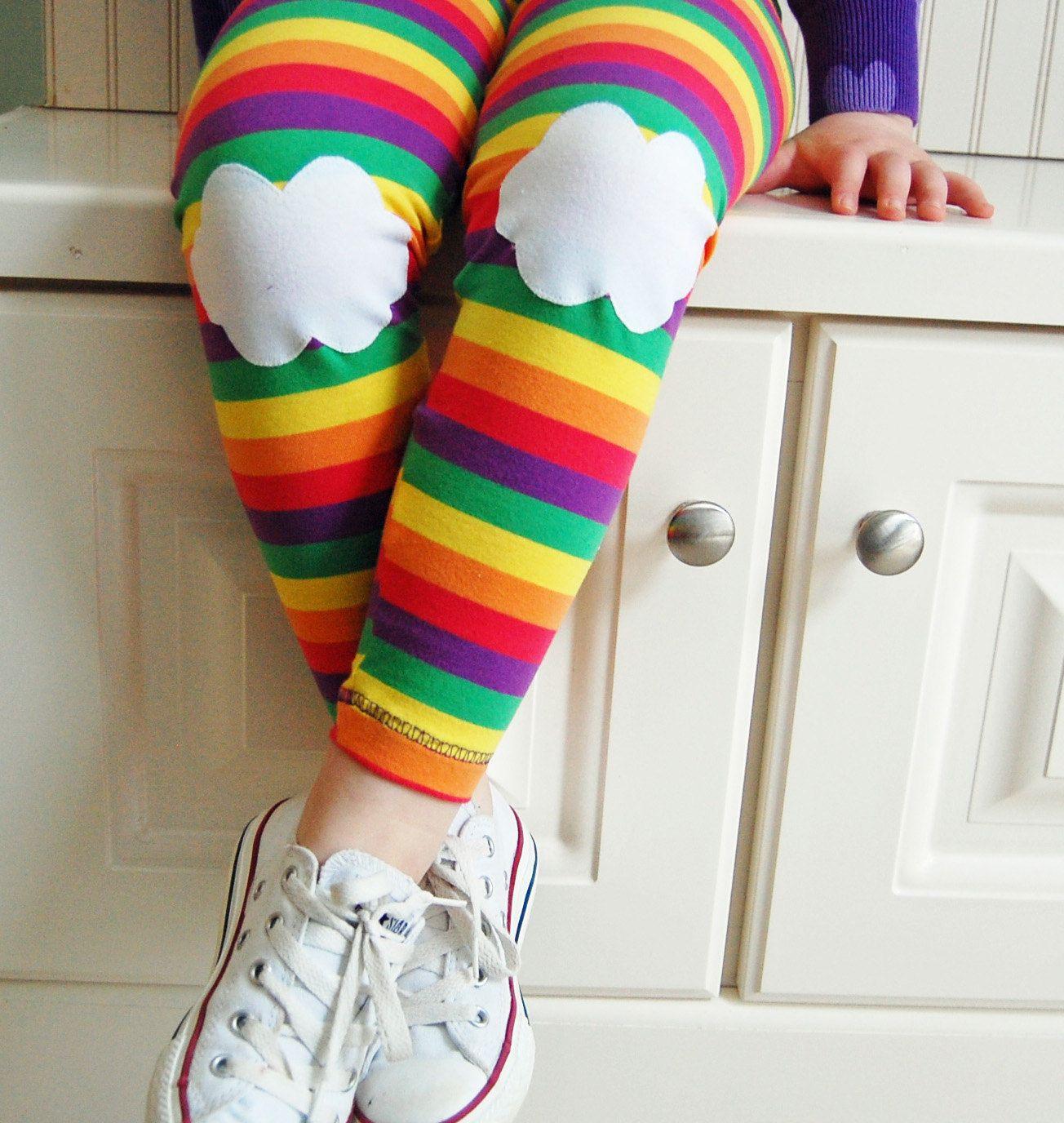 Kids Girls Cute Rabbit Knee Patch Leggings Warm Lined Tight Pants ...